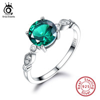 изумрудная форма оптовых-ORSA JEWELS Solid 925 Sterling Silver Women Rings Created Emerald Round Shape Female Luxury Ring Female Fine Jewelry Gift VSR02