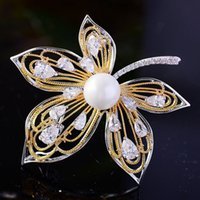 Wholesale leaf brooch pins gold resale online - Zlxgirl Fashion Gold copper leafs Brooch for Women s Wedding jewelry brand pearl scarf pins Micro Paved Popular Gifts