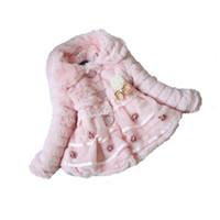 леопардовый мех оптовых-Autumn and winter wear clothes baby children's jacket dress jacket girls leopard imitation  fur collar coat pearl bow