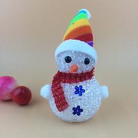 led, iluminado, natal, cervo venda por atacado-Boneco de neve de natal luz do ornamento do natal papai noel cervos urso noite luz crianças brinquedos presentes de natal árvore pingente luzes