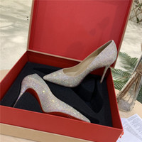 Wholesale stilettos resale online - Red Bottom High Heels Classic Pumps with Dazzling Strass and Stiletto Heel Women Slingback Strass Kate Collection with Original Box