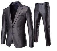 korece avrupa elbisesi toptan satış-Erkek gençlik kore versiyonu avrupa ve amerikan tarzı iş takımları 2 takım set groomsmen damat gelinlik takım elbise