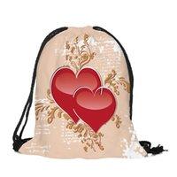 рюкзаки для рюкзаков оптовых-День Святого Валентина с принтом на шнуровке Женская сумка из хлопковой ткани Стринги для путешествий На открытом воздухе Рюкзак на шнуровке