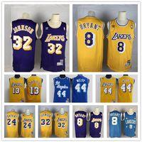 ouest basket maillot achat en gros de-Vintage LosAngelesLakers Jersey Kobe Bryant 8 Jerry West 32 MagieJohnson Shaquille O'Neal 34 Abdul-Jabbar Basketball Maillots