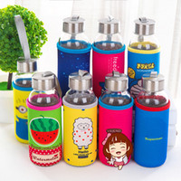Wholesale glass cup large resale online - Top Quality Large Capacity Sports Glass Cup With Cloth Cover Cute Cartoon Animal Water Bottles Hanging Rope Portable Eco friendly Hand Cup