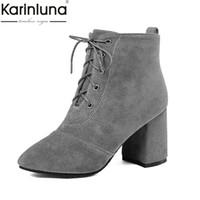 29bc69391 KARINLUNA 2018 dropship grande Tamanho 32-48 Ankle Boots Mulher Sapatos de  salto alto quadrado franja lace up mulheres sapatos femininos botas