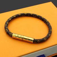 gold bracelets venda venda por atacado-Venda quente padrão de flor de couro genuíno com snap Magnético de ouro em 19 cm de comprimento para mulheres e homens de luxo designer de moda jóias de alta qualidade
