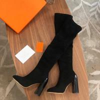frauen grau stiefel high heel großhandel-10cm Modedesigner Frauen High Heel Stretch-Knit Socken Stiefel über dem Knie Stiefel Breathable Elastic Damen Winter schwarz grau braun Stiefel