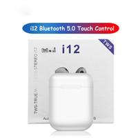 gerçek bluetooth toptan satış-I12 TWS Mini Twins Bluetooth Kulaklık 5.0 Kulaklık Spor Sweatproof Gerçek Kablosuz Dokunmatik Kulaklık Süper Stereo Bas Binoral Çağrı Kulaklıklar