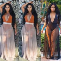 moda saf mayo toptan satış-Yeni Moda Kadınlar Pileli Bikini Kapak-Up Mayo Şeffaf Mesh Plaj Uzun Maxi Wrap Etek Pareo Sundress Seksi
