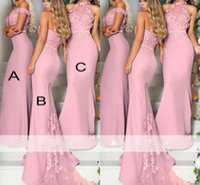Wholesale ice blue party dresses resale online - Elegant Pink Ice Blue Lavender Lace Flowers Bridesmaid Dresses Long Off the Shoulder Mermaid Maid of the Honor Dresses Party Dresses