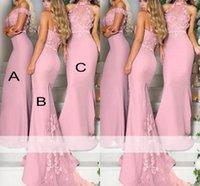 vereisten lavendel großhandel-Elegant Rosa Eisblau Lavendel Spitze Blumen Brautjungfernkleider Lange 2019 Schulterfrei Meerjungfrau Mädchen der Ehre Kleider Party Kleider