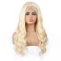 парик человеческих волос светлой волны оптовых-Светлые волосы бразильский объемная волна парики человеческих волос цвет блондинки 613 парики фронта шнурка человеческих волос перуанский индийский