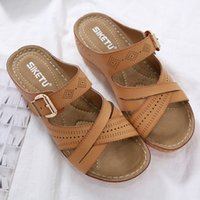 Wholesale tongs for sale - Group buy Women Slides Summer Open Toe Hook Loop Comfy Casual Wedges Non Slip Slippers chinelos mulher chanclas mujer tongs femme