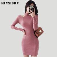 ingrosso maglioni rosa sexy-Abito Donne Inverno nuovo lavorato a maglia sexy Office Lady maglione aderente Mini Halter di colore rosa dei vestiti da partito a maniche lunghe stile coreano Vestidos