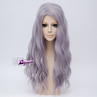 Wholesale purple hair lolita cosplay online - 26 quot Gray Purple Long Curly Hair Lolita Women Fancy Anime Party Wig Cosplay gt gt gt gt gt New High Quality Fashion Picture wig