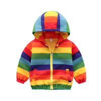 Wholesale spring clothing for boys for sale - Group buy JENYA Boys Girls Rainbow Coat Hooded Sun Water Proof Children s Jacket for Spring Autumn Kids Clothes Clothing Outwear