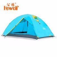 ingrosso tenda all'aperto di hewolf-Hewolf Tenda a doppio strato impermeabile antivento 2 persone Tenda da campeggio all'aperto Una camera da letto Un soggiorno Spiaggia Verde Blu