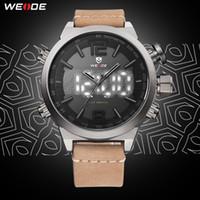 Wholesale timed lights resale online - WEIDE Mens Sport Brand Digital Auto Date Alarm Leather Strap Back Light Quartz Multiple Time Zone Wristwatches relogio masculino