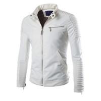 New White Pu Leather Jacket Men 2019 Winter Motorcycle Design Mens Slim Biker Jacket Faux Leather Coats Fashion Veste Cuir Homme