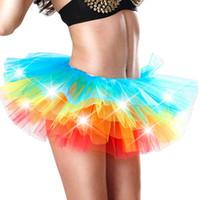 kısa dancewear toptan satış-Seksi Kız Etek Işık Up LED Tatlı Kız Tutu Etekler Kabarık Prenses Sahne Dans Tutu Kısa Mini Giyim Akşam