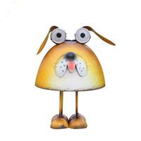 ingrosso animali da giardino in metallo-Lampada da giardino solare, Scultura di cane arrugginito in metallo, con lampada da giardino a LED, per cortile, giardino, prato, strada, terrazza, decorazione del giardino degli animali