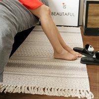 baumwollwebartteppiche großhandel-100% Baumwolle handgestrickte gewebte Teppiche weiche gemütliche Plaid gestreifte Quasten Teppich waschbar dauerhaften Teppich für Schlafzimmer / Küche