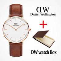 relógios de pulso venda por atacado-Marca de moda casal homens relógio dw 40mm senhoras 36mm pulseira de couro de prata de ouro relógios presente relógios de pulso com caixa Relogios masculino reloj