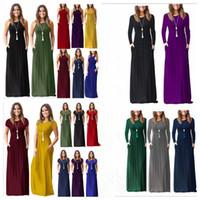 kadınlar için plaj partisi kıyafetleri toptan satış-Yaz elbiseler kadınlar maxi casual dress uzun katı dress parti plaj sundress bodycon tasarımcı dress kadın giyim vestidos 23 renkler b3910