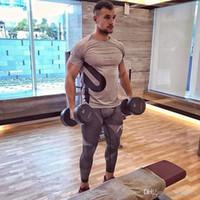 t-shirt da aptidão do gym do algodão venda por atacado-Luva New Men Cotton curto T-shirt academias de fitness Musculação Crossfit Vestimenta Homem Workout camiseta Casual Marca T Tops