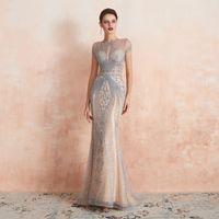 Wholesale tencel fiber resale online - 2019 Luxury Rhinestones Nude Mermaid Evening Dress Long Evening Pageant Dresses Formal Gown robe de soiree