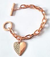 Wholesale heart shaped charms for online - Brand Chain Link Bracelets Heart Shape Designer Charm Pendant Bracelet Gold Silver Rose Gold Bracelets Bangles Jewelry for Women