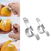 Wholesale oranges slicer resale online - Orange Peelers Easy Open Orange Peeler Stainless Steel Lemon Parer Citrus Fruit Skin Remover Slicer Peeling Kitchen Gadgets
