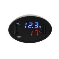 leistungsmesser dual großhandel-Dual USB Alloet 3-in-1 Dual USB Ladegerät LED Digital Auto Voltmeter Thermometer Temperaturanzeige Meter Auto-Ladegerät für Sumsung