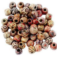 ingrosso perline di rame 14mm-100pcs misti perline di legno perline grande foro fit braccialetto di fascino fai da te per fare gioielli 9x10mm