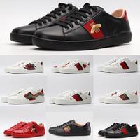 sapatilhas brancas da plataforma de pu venda por atacado-2019 Homens Vintage Shoes Moda Luxo ACE Sneakers Bee cobra Tiger Estrela Bordado Couro Casual Shoes preto branco vermelho tênis de plataforma