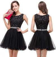 Wholesale black rhinestone mini dress for sale - Group buy Little Black Lace A Line Cocktail Dresses Tulle Ruffles Beaded Rhinestones Short Party Homecoming Prom Dresses Real Image CPS381