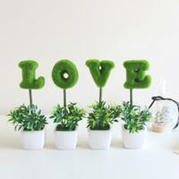 ingrosso bonsai trees-HOME LOVE Letter Simula Little Bonsai Green Planting Wishing Tree Ceramica decorativa San Valentino Spedizione gratuita