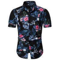 горячие летние рубашки для мужчин оптовых-2019 Summer Hot Sale Mens Short Sleeve Shirt Beach Style Floral Printed Lapel Shirt for Men Size M-3XL
