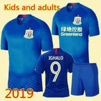 chinesische kits großhandel-Kinder Erwachsene Shanghai Shenhua Fußball Trikots Kit 2019 Männer Jungen Mädchen Gio Guarin Ighalo Fußball Set Chinesische Super League Fußballuniform