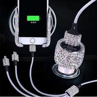 iphone için süslemeler toptan satış-Rhinestones Çift USB Araç Şarj Bling Bling El Yapımı Kristal Araba Süslemeleri iPhone Için Hızlı Şarj Veri Kabloları Dekorları
