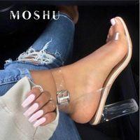 Wholesale blocks heels resale online - Transparent Heeled Sandals Women Jelly Shoes Ladies Block Heel Shoes Women Sandals Fashion Super High Heel Sandalias Mujer