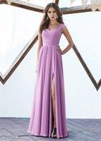 vestido de dama de honor de color morado claro al por mayor-Nuevo 2019 Light Purple A-Line Gasa Vestidos de dama de honor Cuello de novia con cordones Volver Largas damas de honor Vestido de dama de honor Barato