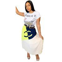 falda mujer monos al por mayor-Diseñador de lujo Vestido Faldas Plisadas Mujeres Color Match Vestido Largo Trajes de Marca Faldas Patchwork Vestido Largo Vestido de Fiesta de Las Niñas C62507