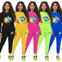 dudak kazakları toptan satış-Şeker Renk Kadın Kazak Kıyafetleri Eşofman gökkuşağı Büyük Dudaklar Baskı Tasarımcısı Hoodie kazak + Pantolon Pantolon Rahat Takım Elbise Spor C8804