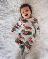 macacão de bodysuit do inverno do bebê venda por atacado-Floral Flamingo bonito Imprimir Crianças Macacão One-peças Bodysuit recém-nascidos Crianças Baby rompers Outono Inverno Crianças Meninos Meninas pano geral C82605
