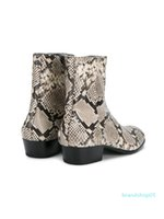 Wholesale classic shoes work man resale online - Hot Sale Classic Men Western Fashion Snakeskin Leather Ankle Boots Side Zipper High Top Martin Boots Autumn Winter Work Business Men Shoes