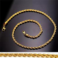 collar de cadena de oro real de 18k. al por mayor-18K chapado en oro del acero inoxidable cadena de la cuerda del collar de Hombres Mujeres regalo de la manera joyería y accesorios