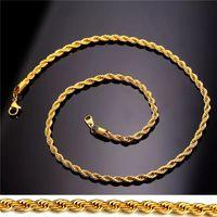 collar de oro 18k mujer al por mayor-Collar de cadena de cuerda de acero inoxidable chapado en oro real de 18 quilates para hombres, mujeres, regalos, accesorios de joyería de moda