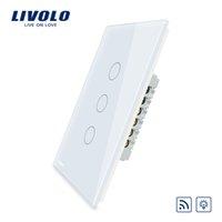 interruptor remoto livolo al por mayor-Livolo EE. UU. / AU estándar Pantalla táctil de panel de cristal de marfil, 3 Gang 1 Way Remote Dimmer Switch, fuera de control remoto